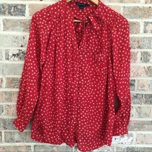 French Connection Blouse Red Long Sleeve